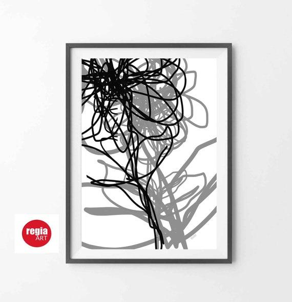 Line Art Flower Wall Art, Instant Download, Black and White Abstract Print, Modern Minimal Line Art Flower, Simple Design, Decor, RegiaArt
