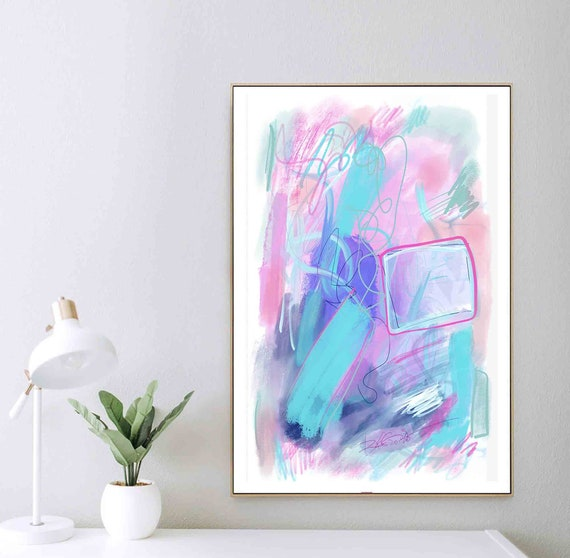 Printable Art,  Blue Pink Painting, Abstract Large Art, Instant Download, Modern Print, Abstract Wall Art, Home Office Decor, RegiaArt