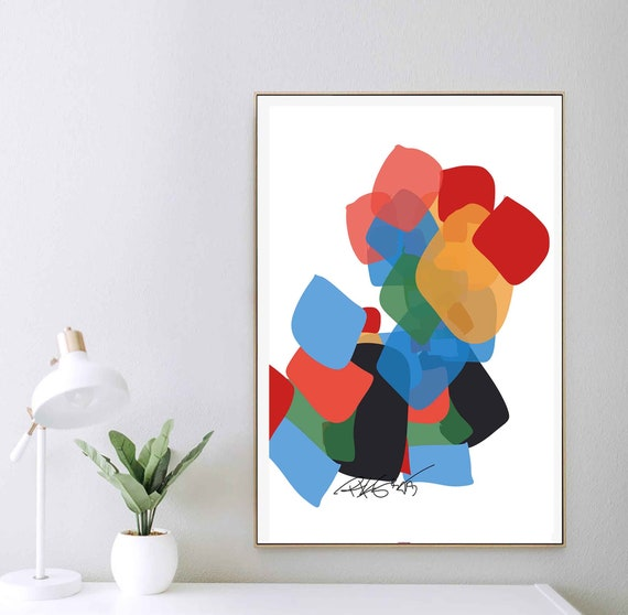 Printable Abstract Art, Colorful Print, Color-blocked Decor, Organic Art, Instant Download, Inspiration Creative Art Contemporary, RegiaArt