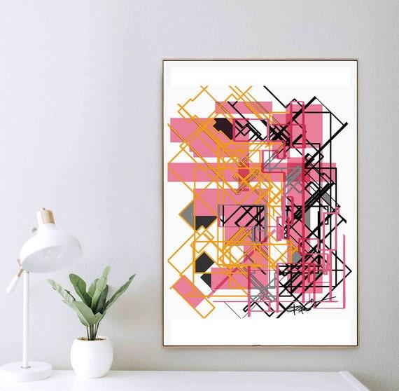 Printable Abstract Art, Pink Black Bold Art, Geometric Digital, Contemporary Art, Minimal Print, Wall Art Download, Wall Home Decor RegiaArt
