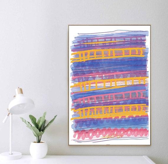 Interesting Home Office Decor, Yellow Blue Digital Art Drawing, Instant Download, Abstract Art, Large Wall Art 24x30, Printable Art RegiaArt