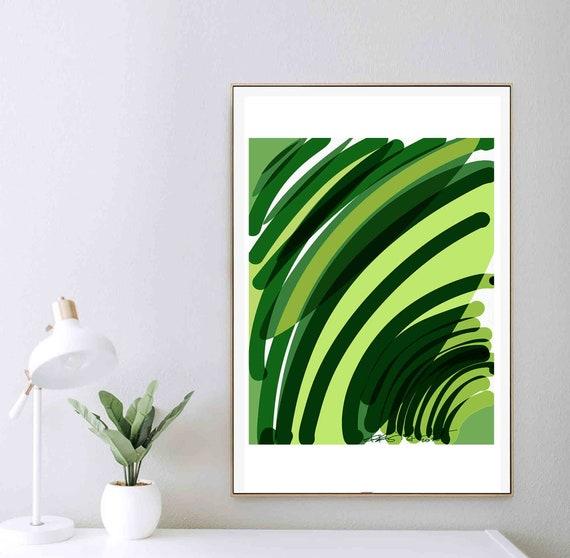 DIY Printable Abstract Wall Art, Green Art, Chartreuse Organic Painting, Monochrome Art, Minimal Print, Art Download, Home Decor, RegiaArt