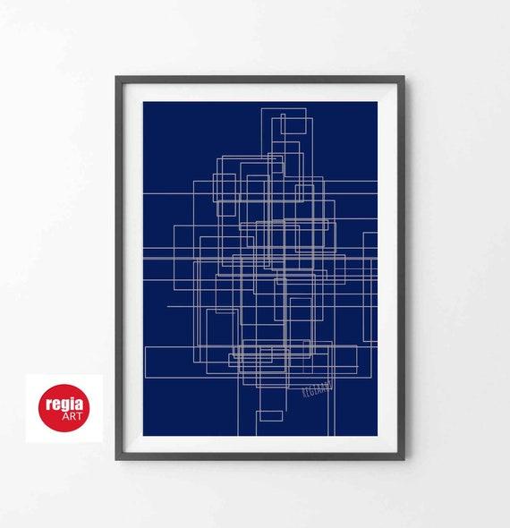 Printable Abstract Wall Art, Mid Century Modern, Line Art, Navy Blue Art, Instant Download, Large Print, Digital Painting, 24x36 RegiaArt