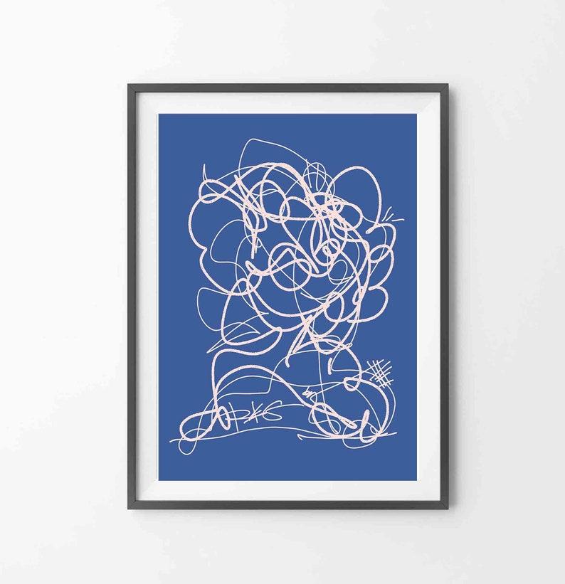 Printable Abstract Blue Art White Lines over Blue Art Mid Century Modern Instant Download Line Art RegiaArt Blue Print Digital Drawing