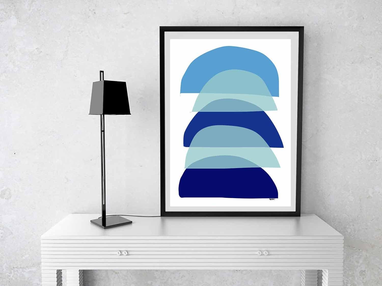 Printable Art Mid Century Modern Wall Art Blue Large Art
