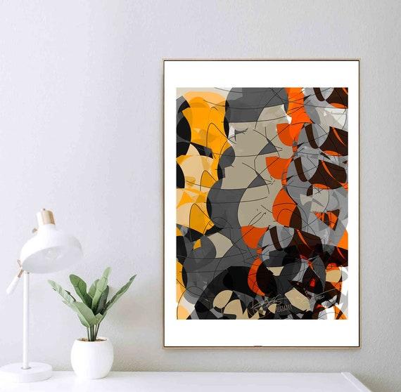 Printable Art, Autumn Digital Painting, Instant Download, Geometric Abstract Art, Wall Art, Interior Design, Home Decor, 24x30 Art, RegiaArt