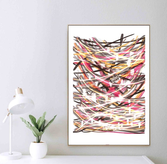 Printable Art, Colorful Abstract Wall Art, Instant Download, Expressionism Art, Mid Century Modern, Home Decoration, RegiaArt