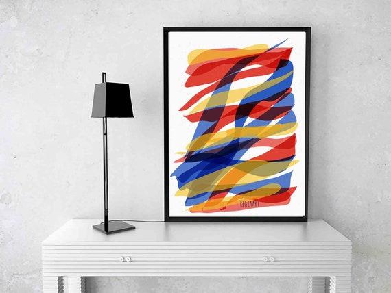 Printable Art, Ribbons Wall Art, Instant Download, Armenian Colors Art Print, Abstract Art, Colors Painting, Large Home Decor, RegiaArt