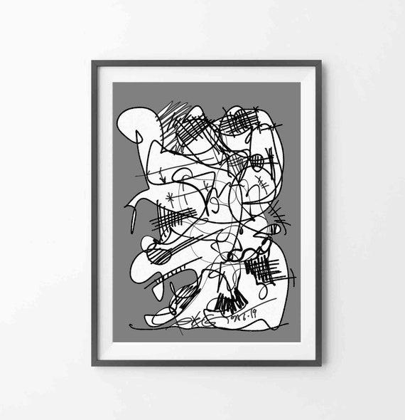 Printable Abstract Art, Instant Download, Digital Art Drawing, Black Wall Art, Line Art Print, Black Gray Drawing Art, Home Decor, RegiaArt