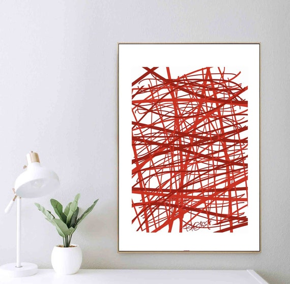 Printable Wall Art in Red, Wall Decor, Expressionist Abstract Painting, Instant Download, Minimalist Home Office Decor, RegiaArt