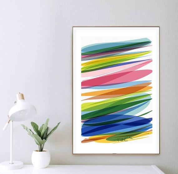 Printable Stripes Art, Scandinavian Art, Instant Download, Light Colors, Large Modern Print, Instant Download, Abstract WallArt, RegiaArt