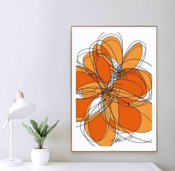 """Printable Abstract Wall Art, Orange Art, Flower Organic Shapes, Instant Download, Large Print, 24x36"""" Art Contemporary Home Decor RegiaArt"""
