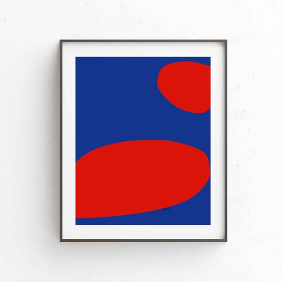 Printable Minimal Art, Digital Download, Red Blue Print For Living Room, Vibrant Bold Modern, Abstract Art Print, Modern Decor, Wall Art,