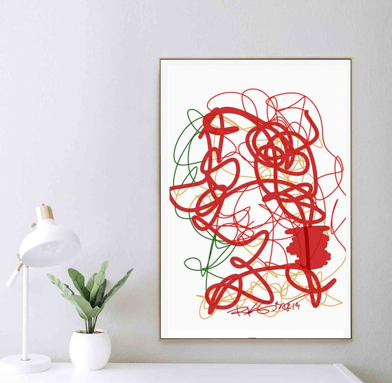 Red Line Art Print, Hand Draw, Printable Abstract Wall Art, Living Room Art, Instant Download, Empowers Ideas, Contemporary Art, RegiaArt