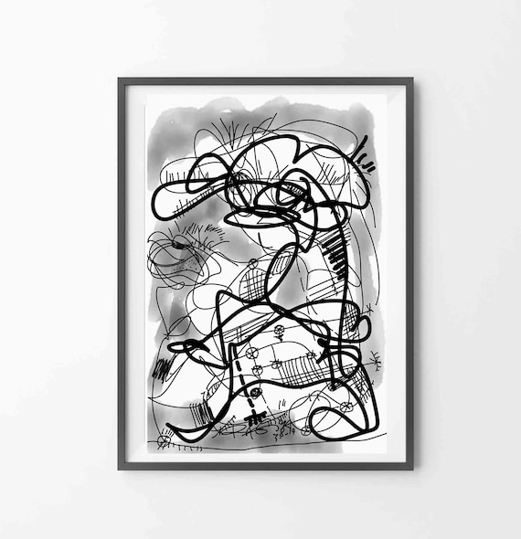 """Printable Abstract Line Art,  In The Mood, Black White Art, Drawing, Instant Download, WallArt Print, 24""""x36"""" Artwork, Contemporary RegiaArt"""
