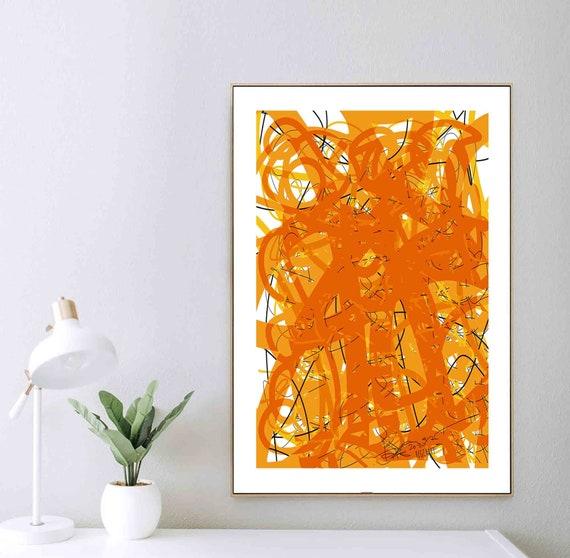 Printable Art, Orange Abstract Painting, Instant Digital Download, Bauhaus Art, Large Wall Art, Interior Design, Home Decor Art, RegiaArt