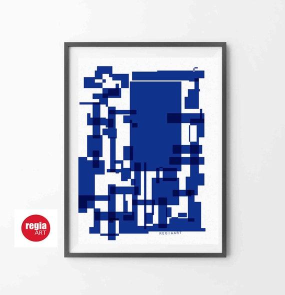 Blue Printable Abstract Art, Geometric Large Art, Instant Download, Mid Century Modern, Digital Modern Painting, 24x36 Art, Decor RegiaArt