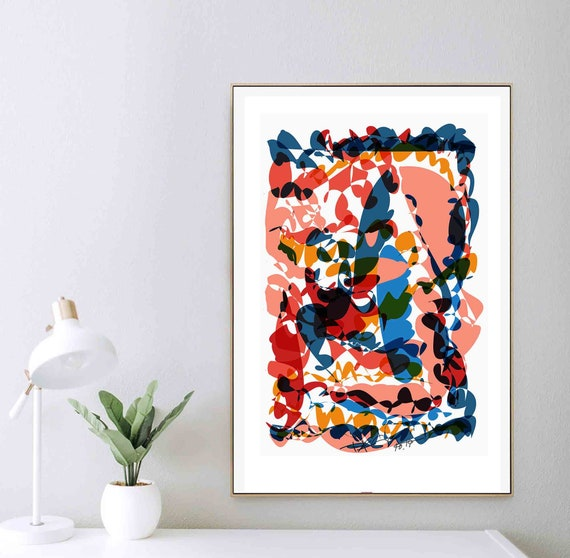Printable Wall Art, Living Room Art, Instant Download, Home Decor, Color Salmon Organic, Downloadable Art, Contemporary Abstract, RegiaArt