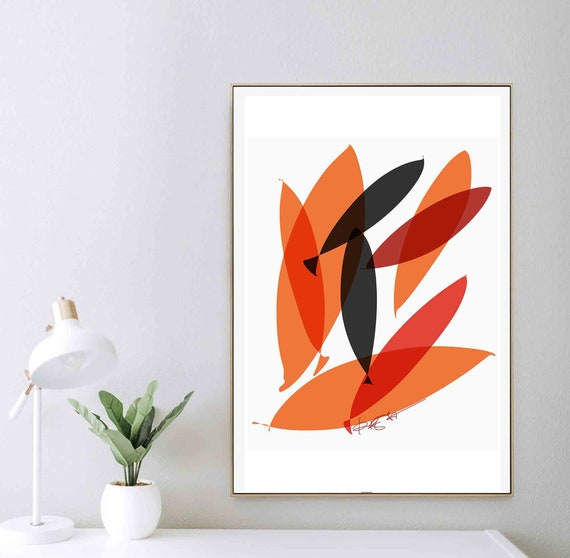 Printable Abstract Art, Orange Black Koi Fish, Modern Painting, Minimal Fish Art, Minimal Print, Wall Art to Download, Home Decor RegiaArt