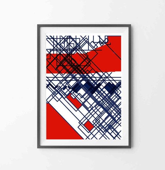 Printable Abstract Art, Line Art Print, Instant Download, Red Blue Line Wall Art, Digital Drawing, Geometric Art, Home Decor, RegiaArt