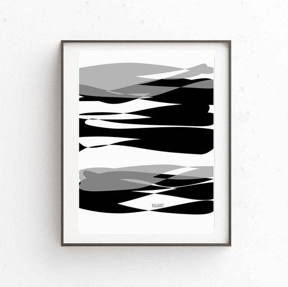 Printable Black White Abstract Art, Scandinavian Modern, Minimalist Large Wall Art Print, Modern Decor, Modern Wall Art, Digital Download