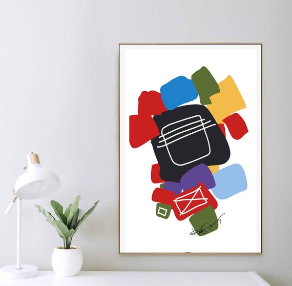 Art, Printable Abstract Wall Art, Colorful Print, Living Room Art, Organic Art, Instant Download, Primary Colors Contemporary, RegiaArt