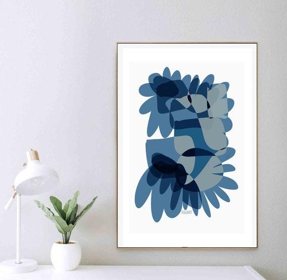 Printable Abstract Wall Art, Blue Art, Minimalism Art, Instant Download, Large Digital Art, Blue Flower Art Contemporary Home Decor RegiaArt