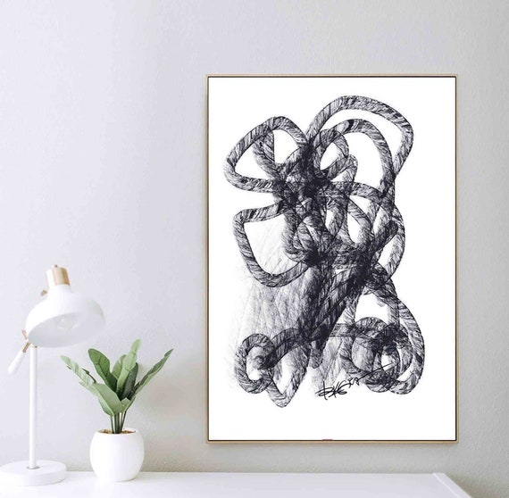 Printable Art, Abstract Lines Painting, Instant Download, Black White Abstract Art, Wall Art, Interior Design, Home Decor Art, RegiaArt
