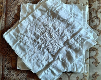 """9"""" x 9"""" vintage  off-white embroidered cotton square with elegant stitching to use in journal making or use as pieces as embellishments."""