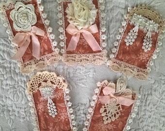 Set of five (5) handmade fabric snippets in Fall and Winter colors to use in your handmade journals and books to hold papers and ephemera