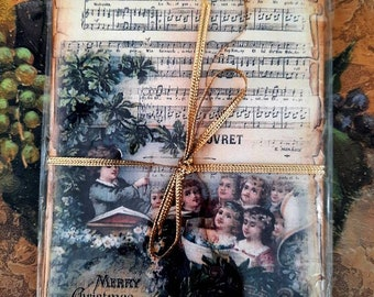 Set of six (6)  handmade Holiday vintage style, Victorian, shabby chic notecards for gift giving or personal use