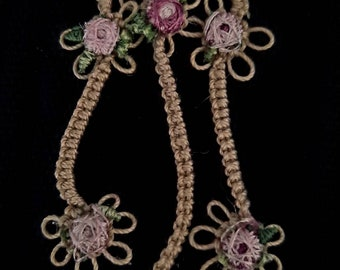 Sweet and delicate hand tatted dangle  with pastel flower trim.