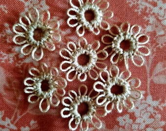 """1/2"""" individual tatted flowers to use in your creations like trims, handmade journals, lace creations and card making."""