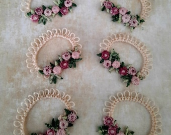 Six (6) new unique tatted lace and flower embellishment pieces to use in junk journals, journaling pages and embellishments