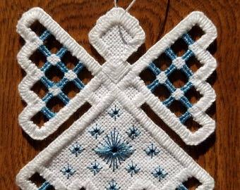 Hardanger Angel Ornament - Blue Topaz