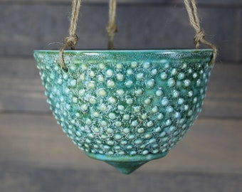 Ceramic Hanging Planter - Turquoise Green Hanging Succulent Pot - Indoor Hanging Planter