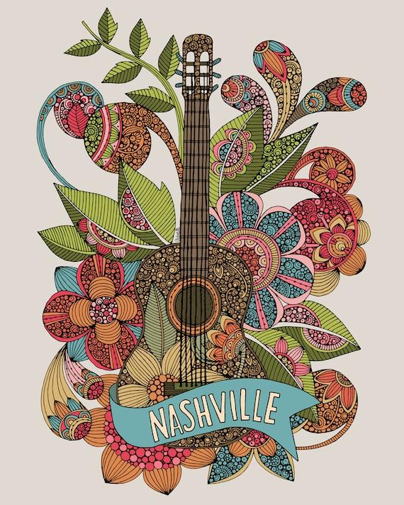 Nashville Guitar Home Decor Music Art Decor Room Decor Etsy