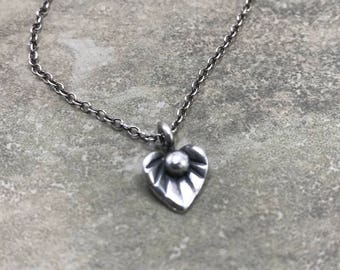 Lotus Bud - Fine and Sterling Silver Necklace