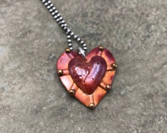 BiMetal Love - Copper and Sterling Silver Necklace