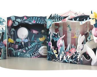 Cat Moon Diorama Book - 3 DIY DIORAMA KITS in one book - diy kit papercraft cats cat illustration craft