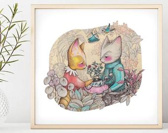 Cat Love Illustration Print
