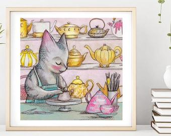 Cat Potter Illustration Print