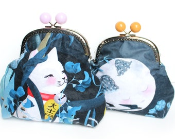 Lucky Cat Cat Purse Moon - LARGE - double sided lucky cat maneki neko moon face bobble clasp purse varied colour bobbles big
