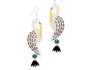 Crane Bird earrings -  pearl acrylic laser cut embroidered stitched hand painted earrings birds sparkly japanese