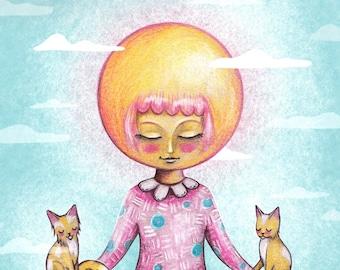 Sun Mediation Illustration Print