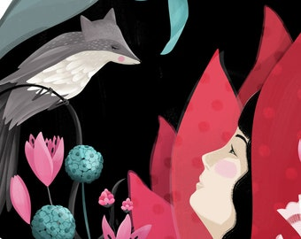 Red Riding Hood and Wolf Bird Illustration Print