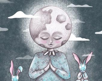 Moon meditation illustration Print
