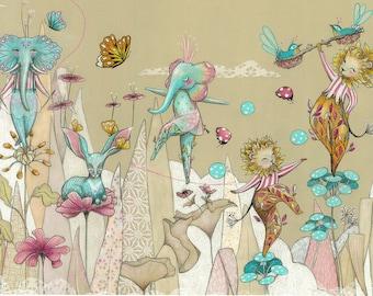 Floral Circus Art Print - Various sizes