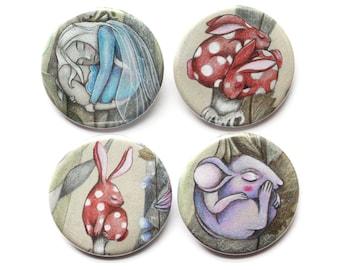 Fairytale Netsuke Badges/Fridge Magnets