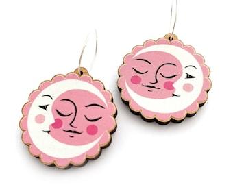 Pink Sun Moon Earrings